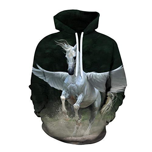 Long Sleeve Sportswear Unisex Animal Hoodies Men Women 3D Printing T-Shirts Casual Sweatshirts Teenagers Baseball Uniforms-Horse_Xxs