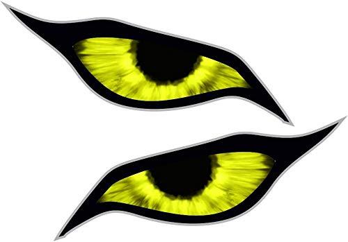 Paar gele Demon Evil Eyes Eye Design voor motorhelm Drone etc. Externe Vinyl Auto Sticker Decal 70x30mm Elk