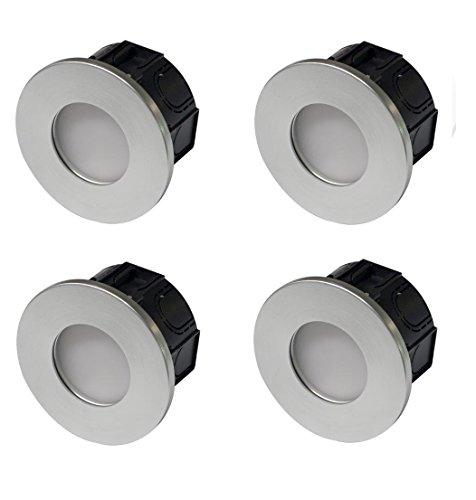 4x 3w LED Wandleuchte Einbauleuchte für 68 / 60mm ISO Unterputzdose Leuchte/Hohlwanddose Stiegenbeleuchtung Unterputz Deckenleuchte Lampe (silber dimmbar)