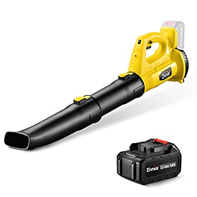Cordless Leaf Blower 350 CFM 150 MPH - Zivnia 18-21V 4.0Ah High Performance Electric Leaf Blower with Battery & Charger for Lawn Care, Air Blower 6-Speed Dial Lightweight Battery Powered Low Noise