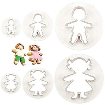 CSPRING 6PCS Cute Funny Gingerbread Boy and Girl Christmas Lebkuchen Man Plastic Cookie Cutter Molds Fondant Set