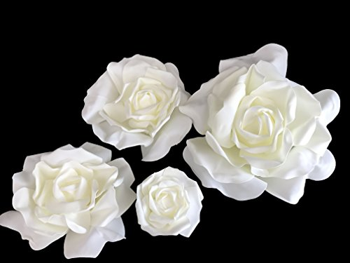 Set of 4 Classic Elegant Giant foam Flowers(FLOATING). Real Touch 3D Artificial Roses. Wedding Backdrop, Photo-booth, Backdrop, Nursery, Wall, Archway, Home Decoration Centerpiece (Orange)