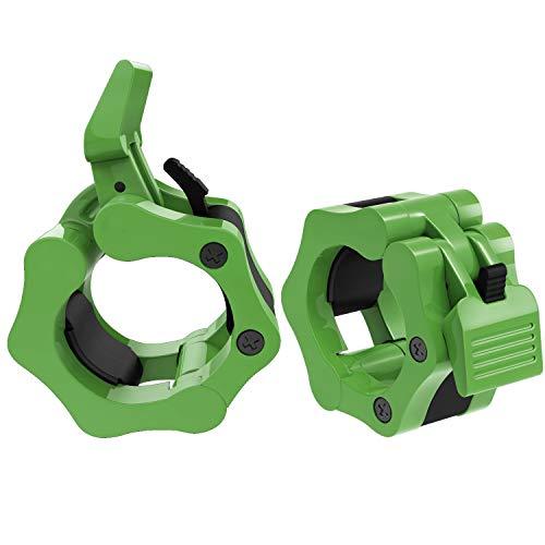 MoKo Hantelverschlüsse, 1 Paar 50mm Professionelle Verschlüsse für Olympische Hantelstangen, Fitnessgerät aus Kunststoff und Nylon mit Schnell Klemmverschluß, für Muskel Bauen Training - Grün