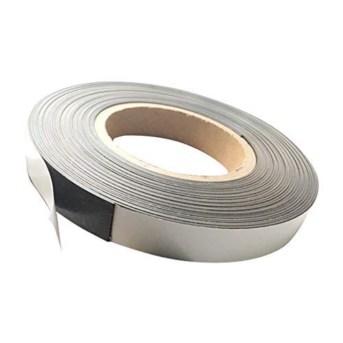 Brightstars88 - Cinta magnética de doble cara (1 m x 2 cm, flexible y delgada), color plata