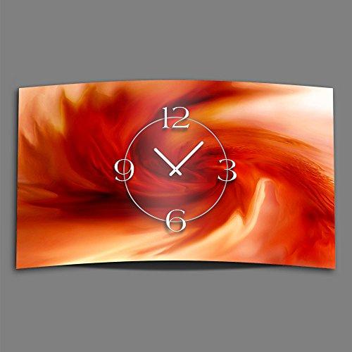 Abstrait Tourbillon Rouge Designer Horloge murale moderne Horloge murale design 28 cm x 48 cm Silencieux sans bruit de tic-tac DIXTIME 3D 0180