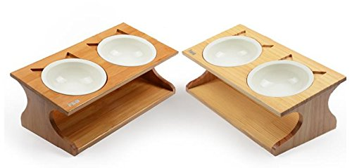Mangeoire Pet petons avec 2 bols pour chiens et chats, bois et céramique Bois naturel
