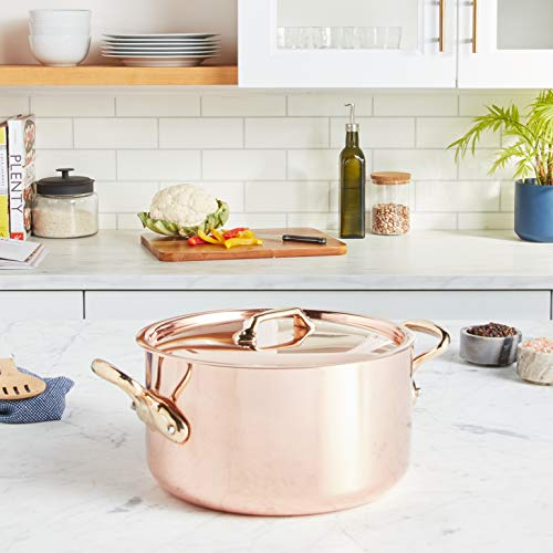 Mauviel Made In France M'Heritage Copper M250B 6505.24 6-Quart Stockpot with Lid and Bronze Handles