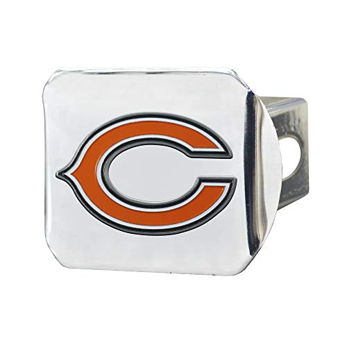 FANMATS 22543 NFL Chicago Bears Metal Hitch Cover, Chrome, 2