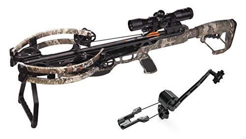 CenterPoint Archery CP400 Crossbow AXCV200TPKSC Powered by Helicoil Technology with Silent Crank - Package Includes Quiver and Arrows, True Timber Camo