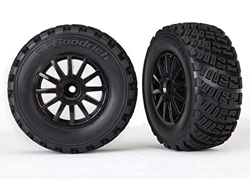 Traxxas 7473T Pre-Glued Black Wheels with Gravel Pattern Tires, TSM Rated (Sold As Pair) Vehicle