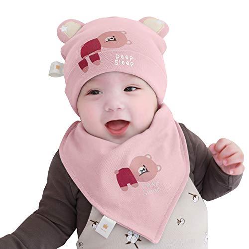 FOLDING Sombreros Gorras Sombrero del bebé Toalla de la Saliva Set del Muchacho del Invierno calientan la Muchacha del niño Orejeras Sombrero de los niños (Color : Bear-Pink, Size : M)