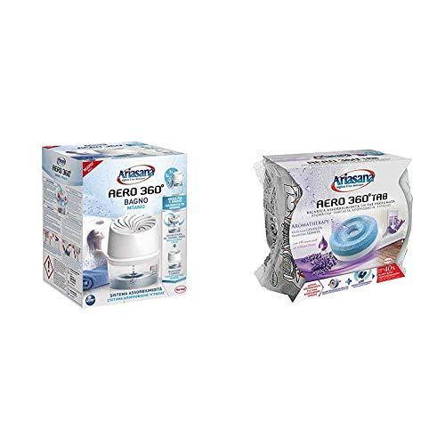 Ariasana Aero 360° Bagno Kit assorbiumidità, Deumidificatore bagno con efficace ricircolo d'aria, Deodorante bagno assorbi umidità + Inlcude 1 Ricarica TAB lavanda 450g