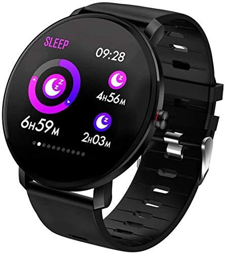 Rastreador de actividad con pantalla a color, reloj inteligente con monitor de sueño, contador de pasos, contador de calorías, pulsera inteligente para mujeres y hombres (color rojo) y negro