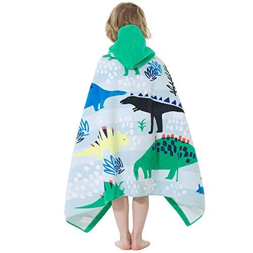 Adorel Jungen Badeponcho Baumwolle Kapuzen-Handtuch Groß Dinosaurier Paradies