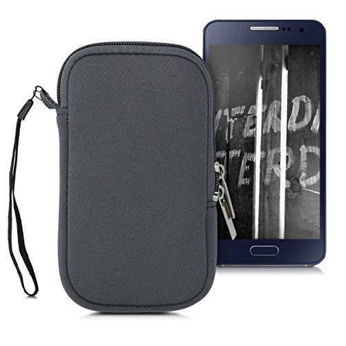 kwmobile Custodia in neoprene con zip per Smartphone S - 4,5' - Astuccio portacellulare a sacchetto con cerniera - Borsa verticale - grigio