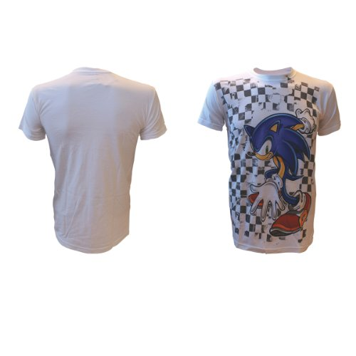 Sonic -XL- White, Checkered Background Tee