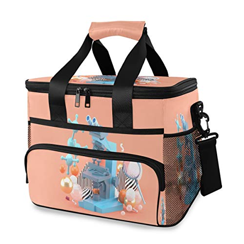 ZQYON Cooler Bag, Blue Microscope Among Colorful Balls On 15l Large Insulated Lunch Bag Picnic Cooler, Backpack Cooler
