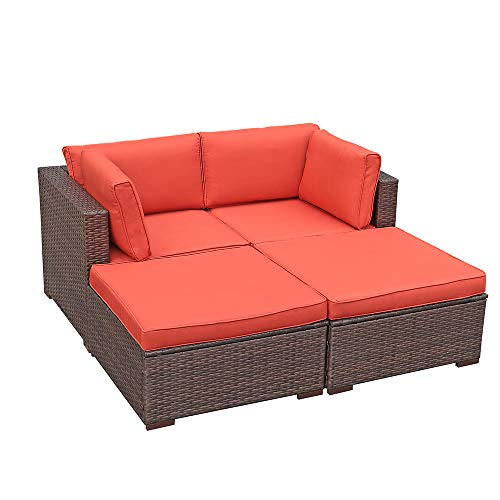 OC Orange-Casual 4 Pieces Patio Furniture Sectional Set Outdoor All-Weather PE Rattan Wicker Lawn Conversation Sets Brown Wicker Orange Cushioned Garden Sofa Set