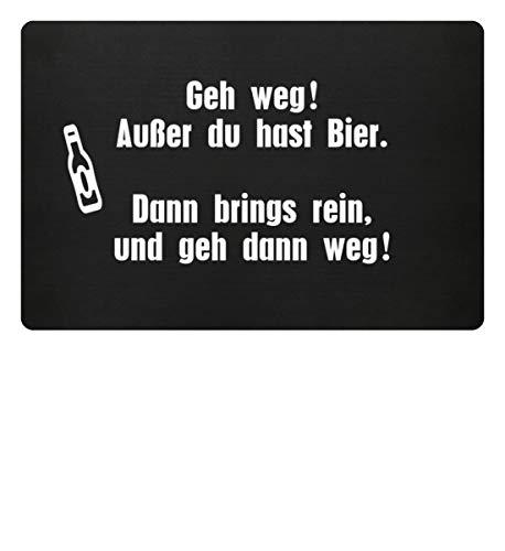 Shirtee GEH WEG ! AUSSER DU HAST BIER - Fußmatte -60x40cm-Schwarz