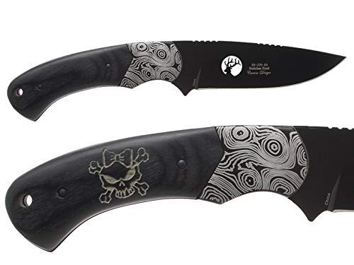 "NDZ Performance Elk Ridge ER-200-09-BK 4"" Fixed Blade Hunting Knife Damascus Bolster Black Pakkawood Handle with Leather Sheath Laser Engraved Skull Cross Bones Bow 2"