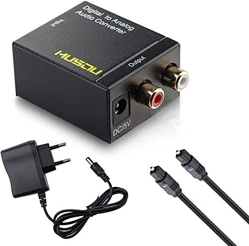 DAC - Conversor de Audio Digital a analógico, Digital SPDIF Toslink a estéreo L/R RCA con Cable óptico para TV HD BLU-Ray PS3 PS4 Xbox
