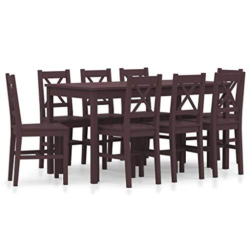 Festnight Conjunto Mesas y Sillas Comedor Muebles para Cocina Conjunto de Comedor 9 Piezas Madera de Pino Marrón Oscuro