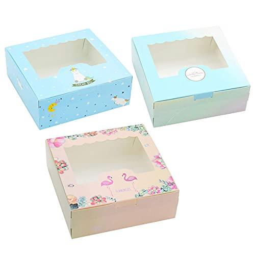 Tomedeks 12 PCS Naturpapier-Tortenschachtel, die für Cupcakes und Macarons verwendet Wird, kann 4 Cupcakes (S) aufnehmen