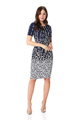 Roman Originals Damen Texturiertes Shift-Kleid mit Blumenborte - Damen Tailliertes A-Linien-Kleid, Rundhalsausschnitt, Kurzarm, elegant, Büro, besondere Anlässe, Bleistiftrock - Marine-Blau - Größe 48