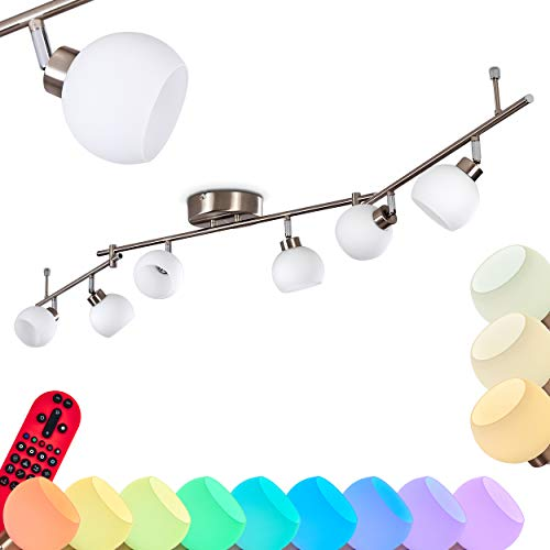 LED Deckenleuchte Motala, dimmbare Deckenlampe aus Metall/Glas in Nickel-matt, 6-flammig, 21 Watt (insgesamt), 1410 Lumen (insgesamt), Lichtfarbe 2700-5000 Kelvin, RGB Farbwechsler u. Fernbedienung