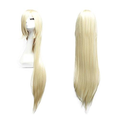 100cm Cosplay Lange Gerade Perücke Voll Wig (Blond)