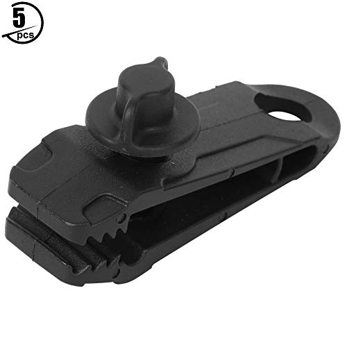T best Camping Tent Clip, 5Pcs/Set Waterproof Windproof Outdoor Large Camping Canopy Awnings Clamp Heavy Duty Camping Tent Canopy Tarp Clips with Hook (Black)