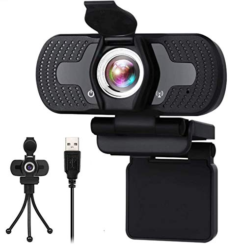 Webcam with Microphone 30FPS Full HD 1080P Webcam with Privacy Cover and Tripod Wide Angle Video Camera for Computers PC Laptop Desktop USB Camera Conference Video Calling Live Streaming Webcams