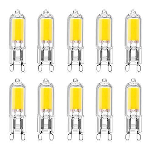 LED G9 2W LED COB Bulb 250LM, AC220-240V, Cold White 6000K, Lampadina a risparmio energetico CRI80, Full Glass, Lampadina alogena 25W equivalente, Angolo a fascio 360 °, 10 confezioni