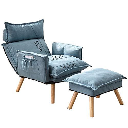 WHOJA Silla Tumbona Plegable Meditación Respaldo Ajuste de 6 velocidades Sillón Diseño de Almacenamiento Asiento de Lino de algodón para Dormitorio, Sala de Estar, Estudio Sillon Re(Color:Lago Azul)
