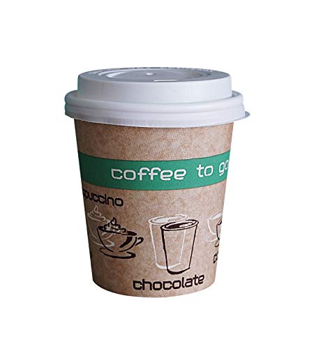 50 Pappbecher (200ml) mit passenden Deckeln, Coffee to go Becher Qualitätsware
