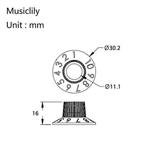 Musiclily Pro Imperial Pulgadas Tamaño Pedal Efecto de Amplificador Botón de Potenciómetro 2 Tono 2 Volumen Skirted Perillas de Guitarra,Negro