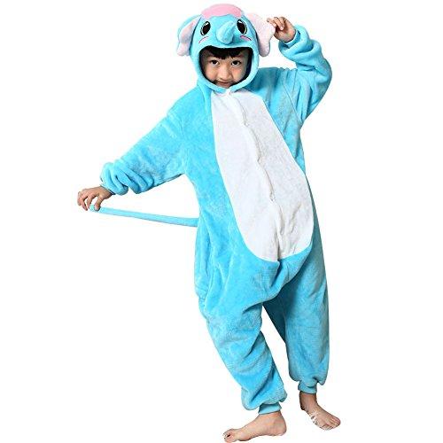 Missbleu Deguisement enfant pyjama combinaison animaux pyjama polaire enfant Elephant taille 140