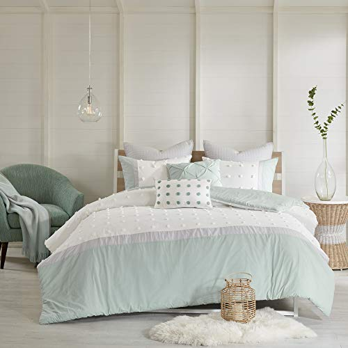"Urban Habitat Duvet Set 100% Cotton Jacquard, Tufts Accent Shabby Chic All Season Comforter Cover, Matching Shams, Decorative Pillows, King/Cal King(104""x92""), Myla, Aqua/Ivory 7 Piece"