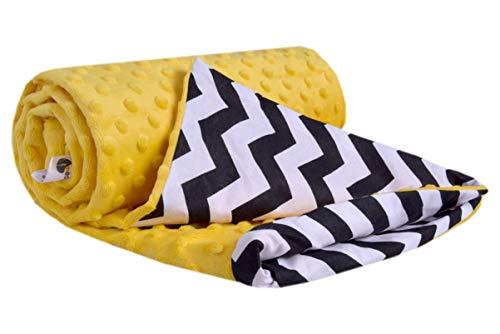Krabbeldecke 100% Baumwolle 75x100cm doppelseitig multifunktional Minky Kuscheldecke für Kinderwagen weich flauschig (Zickazk mit Gelbem Minky)