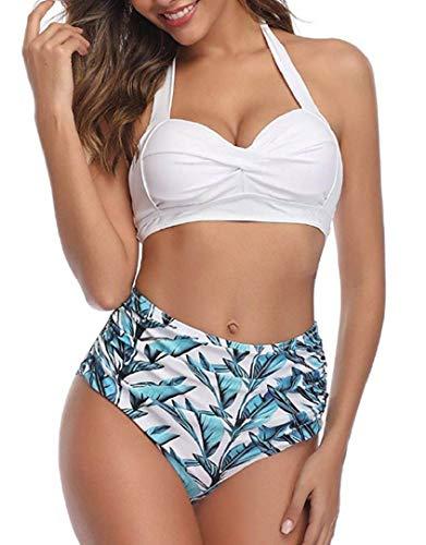 heekpek Bikinis Mujer Push Up Conjunto Bikini Talle Alto Flores Estampado Bikinis Brasileños Retro Halter Bikini de Cintura Alta de Dos Piezas