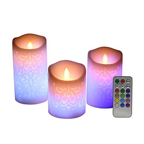 LED Velas sin Llama Ketom, Pack de 3 Velas LED sin Llama, Velas Pilas de Cera Real no de Plástico 18 Teclas con 4/8 Horas Función del Temporizador, RGB 12 Colores LED Velas Decorativas