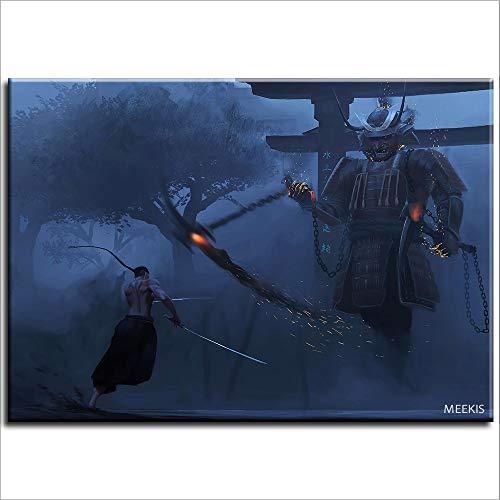 Pintura al óleo de bricolaje Samurai decoración de la pared del hogar decoración muebles regalos 40X50 (sin marco)