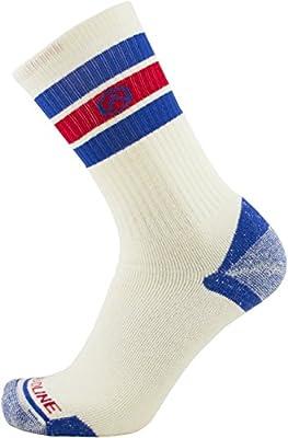 CloudLine Merino Wool Retro Hiking Socks - for Men & Women - Large White/Blue
