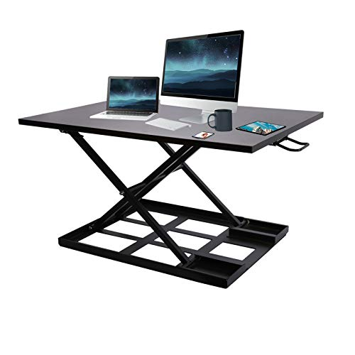 Standing Desk,Height Adjustable Standing Desk Converter,32 Inch Computer Workstation,Sit to Stand Up Desktop Riser for Laptop Dual Monitor Stand for Home and Office, Convertible Desk,Large&Stable