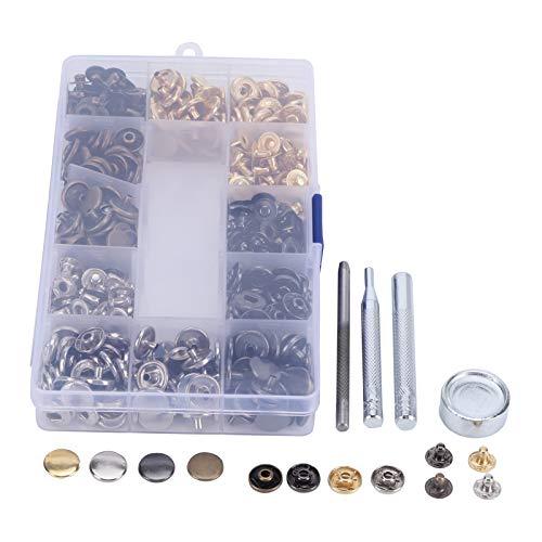 Uxsiya Empaquetado en cajas no oxidadas, kit de cierre de presión, práctica herramienta de botón de cuero fuerte para manualidades o hacer ropa