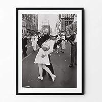 XKHSD ヴィンテージアート黒と白のフォトフレーム勝利キスポスターニューヨークキャンバス絵画画像プリントホームウォールアート装飾