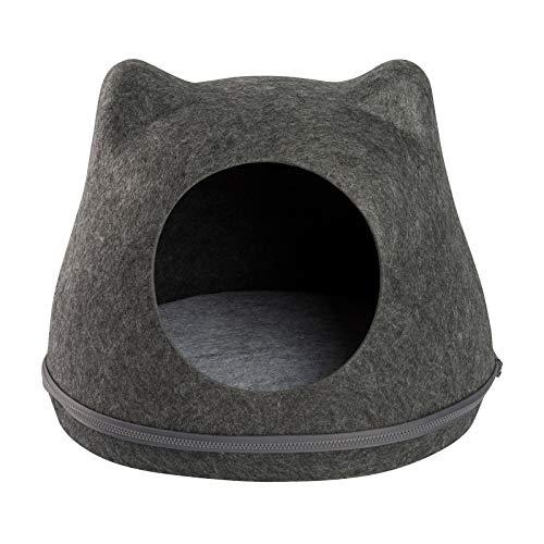 JAMAXX Katzen-Höhle | Filz Kuschel-Körbchen | Stabil, Standfest, Katzenbett Katzennest Kuschel-Höhle Katzenhaus 43x35x35 dunkelgrau | Design Solo