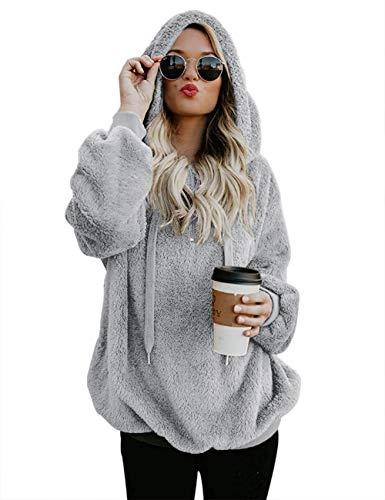 iWoo Winterjacke Damen Plüsch Einfarbig Langarm Teddy-Mantel Hohe Qualität Elegant Superweich Frauen Pullover (Hellgrau,M)