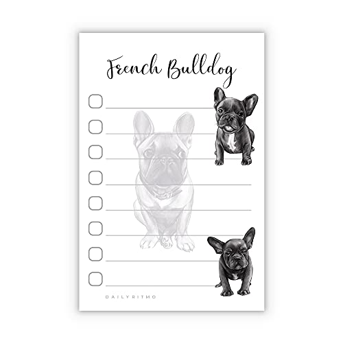French Bulldog Puppies Sticky to Do List Notepad - Stationary School Office Supplies for Frenchie Mom | French Bulldog Gifts for Frenchie Lovers | 4' x 6' 50 Pages