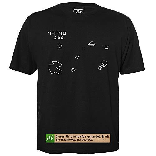 GetDigital Asteroids Shirt - T-Shirt Hommes pour Geeks avec Slogan Motif en Bio Coton Manche Courte Col Rond, L